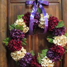 Front Door Wreath, Red, Cream & Purple Hydrangea Wreath, Summer Wreath, Handmade Wreath for Sale, Seasonal Wreath for Summer, Door Decor