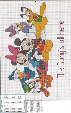 Mickey Mouse and Friends Disney Cross Stitch Patterns, Cross Stitch For Kids, Cross Stitch Charts, Pokemon Cross Stitch, Stitch Character, Pixel Pattern, Cross Stitch Needles, Mickey Mouse And Friends, Plastic Canvas Patterns