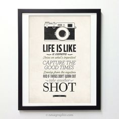 Life Is Like A Camera - Vintage Style Typography Inspirational Quote Poster by NeueGraphic on Etsy