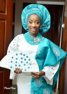 Sisi Yemmie & Bobo Yemi | My Big Nigerian Wedding | Lagos Nigerian Yoruba Itsekiri | BellaNaija 0002. Turquoise blue and white Nigerian bride.
