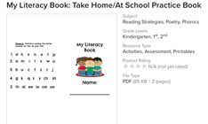 My Literacy Book: Take Home/At School Practice Book Cvc Words, Sight Words, Teaching Resources, Activities For Kids, Prep Book, Jolly Phonics, Literacy Stations, Letter Sounds, Reading Strategies