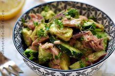 SALATA DE AVOCADO CU TON - Rețete Fel de Fel Sprouts, Potato Salad, Gluten, Potatoes, Vegetables, Ethnic Recipes, Food, Salads, Potato