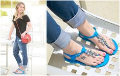 A few jewels + a little color = one eye-catching sandal. #DSW #shoelover