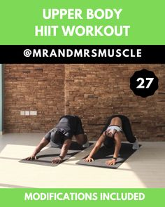 Train your Upper Body with this HIIT Workout. Best Picture For hitt Cardio Workout Fitness Workouts, Upper Body Hiit Workouts, Hiit Workout Videos, Full Body Hiit Workout, Band Workout, Hiit Workout At Home, Training Fitness, Gym Workout Tips, Fitness Workout For Women