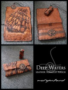 A tobacco pouch made on leather using pyrographer tool. Leather is worked to have an old look. Light parts of the design made by scratching leather and removing color of the surface, depending on t...