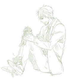 Makoto likes his kittens ...  From nonta2323 ... Free! - Iwatobi Swim Club, free!, iwatobi, neko, cat, rin matsuoka, rin, matsuoka, makoto tachibana, makoto, tachibana, haru, haruka, nanase, haru nanase, haruka nanase
