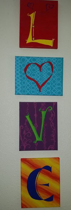 4 canvas' painted by Teresa Stokley