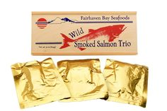 Try this awesome 22 oz wild-caught Smoked Alaskan Salmon Trio. Package contains 3 pouches,heat-sealed in natural juice. Natural Sockeye, Peppered Sockeye and Natural Pink. RECIPES INCLUDED. Best Smoked Salmon, Smoked Salmon Recipes, Smoked Fish, Fish Smoker, Chum Salmon, Pacific Salmon, Alaska Salmon, Sockeye Salmon, Rainbow Trout