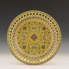 JIAQING YELLOW GROUND FAMILLE ROSE RETICULATED EDGE Metal Working, Wedding Gifts, Oriental, Auction, Chinese, Pottery, Paintings, Plates, Ceramics