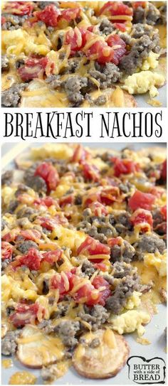 Easy Breakfast Nachos are perfect for breakfast but also make a wonderful lunch or dinner too! Thinly sliced roasted potatoes topped with sausage scrambled eggs cheese and tomatoes - an easy meal that can be ready in 30 minutes! BUTTE WITH A SIDE OF BREAD Best Breakfast Recipes, Brunch Recipes, Easy Dinner Recipes, Soup Recipes, Vegetarian Recipes, Easy Meals, Cooking Recipes, Nacho Recipes, Potato Recipes