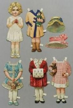 Paper Doll; Raphael Tuck & Sons, Bonnie Series #64, Bessie, Outfits & Hats, 9 inch.