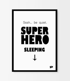 """""""Superhero sleeping"""" - poster from Epic Design Shop. Cool and funny wall decor for kids room and nursery.  We offer free worldwide shipping!  Buy it here: http://epicdesignshop.com"""