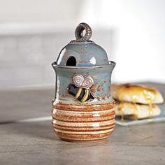 Stoneware Honey Jar