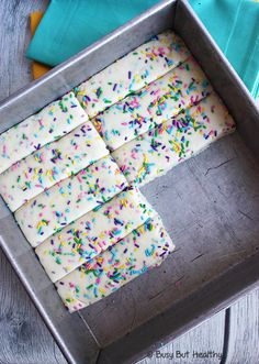 No Bake Birthday Cake Protein Bars - delicious and easy homemade protein bars made with vitafiber syrup and whey protein.