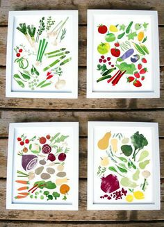 Spruce up any room with these four prints celebrating the full year of fruits and vegetables - spring, summer, fall and winter.