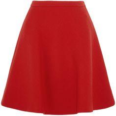 Miu Miu Wool-crepe mini skirt (1,985 PEN) ❤ liked on Polyvore featuring skirts, mini skirts, bottoms, saias, miu miu, red, short a line skirt, red flared skirt, wool skirt and wool a line skirt