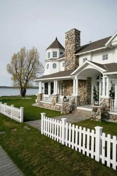 Vinyl Picket Fence, White Picket Fence, Privacy Landscaping, Home Landscaping, Yard Privacy, Stone Exterior Houses, Stone Houses, White Siding House, Wood Fence Design