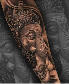 Ganesha Tattoo Sleeve, Skull Sleeve Tattoos, Sleeve Tattoos For Women, Tattoo Sleeve Designs, Tattoo Designs Men, Tattoos For Guys, Buda Tattoo, Trishul Tattoo Designs, Headdress Tattoo