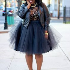 She looks amazing! Plus size tulle skirt and leather Moro jacket She looks amazing! Plus size tulle skirt and leather Moro jacket Nye Outfits, New Years Eve Outfits, Curvy Outfits, Summer Outfits, Girl Outfits, Tulle Skirt Plus Size, Plus Size Skirts, Tutu Skirt Women, Tutu Skirts