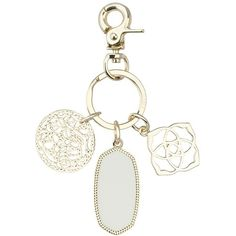 Shirley Charm Key Chain In White - Kendra Scott Jewelry ($65) ❤ liked on Polyvore featuring accessories, kendra scott, fob key chain, keychain key ring, key chain rings and ring key chain