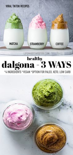 Make Dalgona Coffee - 3 Ways based on the popular Korean coffee known as Whipped coffee. Learn how to make Dalgona with instant coffee, freeze-dried strawberries (or Strawberry Nesquick) and Matcha Powder (Instant Green Tea Powder) This delicious beverage has taken over the coffee world through a viral TikTok video that shows how easy it is to make using Instant coffee, sugar (sweetener) and boiling water. Our creamy beverage recipes are vegan, paleo with keto sweetener options… Easy Baking Recipes, Vegan Recipes, Cooking Recipes, Healthy Smoothies, Smoothie Recipes, Blog Food, Catering, Breakfast Recipes, Dessert Recipes