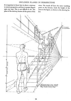 ▐ Inclined planes in perspective, horizons, up and downstairs. Drawing Techniques, Drawing Tips, Drawing Reference, Drawing Sketches, Art Drawings, Perspective Drawing Lessons, Perspective Art, Manga Drawing, Figure Drawing