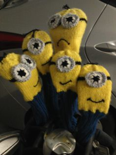 Golf Clubs Golf Club Head Covers I added some embroidery floss for hair and changed the sizing a bit. - Make your own little minion golf club cover. Options included for either the one-eyed or two-eyed minion. Golf Club Reviews, Golf Headcovers, Golf Wedges, Trendy Golf, New Golf Clubs, Gold Class, Golf Club Head Covers, Knit Patterns, Minions