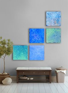 Sea and Ocean Abstract  Painting, 5 square CUSTOM Wall Art, Abstract artwork, - Sea and ocean, sea foam green, blue, green