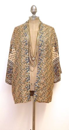 Pure Silk Kimono jacket / cover up nude floral pink by Bibiluxe, £75.00