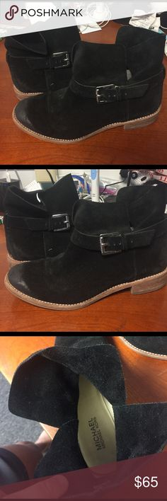 Micheal Kors Shoes Black suede lightly worn short booties by Micheal Kors Michael Kors Shoes Ankle Boots & Booties