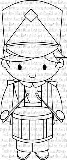 Digital Stamp Drummer Boy by paperaddictions on Etsy Christmas Toys, Christmas Colors, Etsy Christmas, Christmas Stocking, Christmas Coloring Pages, Coloring Book Pages, Applique Patterns, Craft Patterns, Drummer Boy