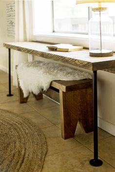 DIY Pipe Leg Desk & Rustic Wood Bench Tutorial | Jenna Sue Design Blog