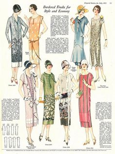 Art Deco: The Pictorial Review, July, 1925, Summer Frocks and Fashion.  -I have one of these framed and hanging in the hall outside of my dressing room. Love these dresses