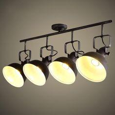 Hassen Loft Adjustable Light Head Spotlight Metal Dome Shade Semi Flush Mount Ceiling Light - Semi Flush Lights - Ceiling Lights - Lighting