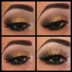 Black eyeliner and gold eyeshadow