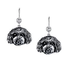 Mini Cavapoo Earrings  | These earrings are available in all breeds! |  Retail Price: $99.95 | 925 Sterling Silver |  Each earring has a small bezel set CZ on top of the dog bead. Please note that these earrings can be special ordered in 10k, 14k or 18k gold. Hand-crafted in the USA, Available at ANDREW GALLAGHER JEWELERS, Newark, DE 302-368-3380. We Ship!
