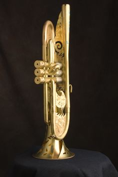 Monette Elysian Trumpet,  Monette does these custom decorated models that tell the life story of the player and owner