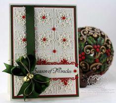 Card Making ideas by amazingpapergrace.com using JustRite Heritage Christmas Ornaments LG, Spellbinders Folded Lace, 5 x 7 Matting Basics A, Spellbinders Back to Basics Tags, Spellbinders Frosty Forms