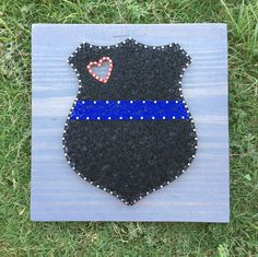 MADE TO ORDER Thin Blue Line Police Officer Badge String Art Board