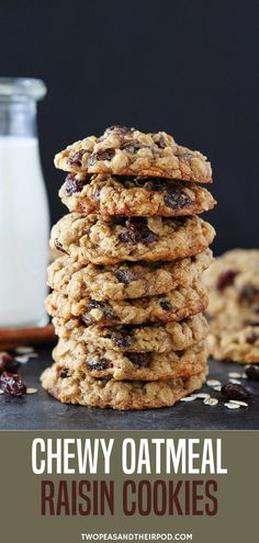 These Soft And Chewy Oatmeal Raisin Cookies Are A Family-Favorite! This Classic Cookie Recipe Is Easy To Make And Goes Great With A Glass Of Milk. Seriously One Of The Best Oatmeal Raisin Cookie Recipes You'll Ever Make. #oatmeal #cookie #cookies #easyrecipe  Visit twopeasandtheirpod.com for more simple, fresh, and family friendly meals. #familyfreshmeals #familyfriendlymeals
