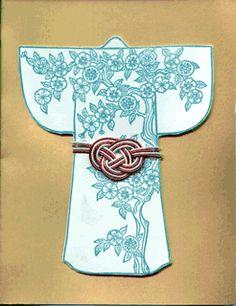 """Kimono card with mizuhike """"obi""""..."""