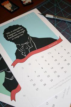 Jane Austen Pride and Prejudice Calendar