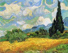 Wheat Field with Cypresses at the Haude Galline near Eygalieres, Provence - Vincent van Gogh, 1889