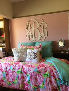lilly + monograms = perfect college dorm room
