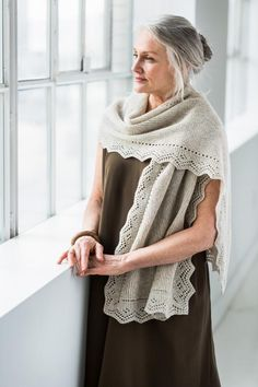 A generous stole with graceful lace touches, Nimbus is an airy and warm accessory that pairs well with dresses and denim. long YARN: Brooklyn Tweed Loft, or other fingering-weigh Brooklyn Tweed, Knitted Shawls, Crochet Shawl, Knit Crochet, Free Crochet, Easy Crochet, Beginner Crochet, Crochet Granny, Shawl Patterns