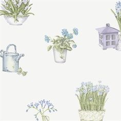 Blue and Green Floral Toile Wallpaper