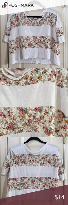 F21 Floral Striped Tee Cream/off white top with sheer, floral mesh panels. Underarm to underarm - 20.5 inches Length - 18 inches *All measurements are approximate and taken laying flat. *No trades. Forever 21 Tops