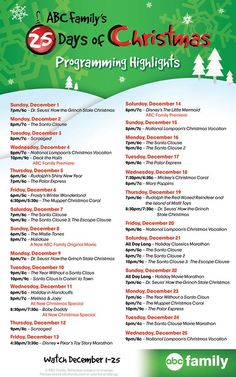 ABC Family's 25 Days of Christmas Love christmas movies! Christmas Time Is Here, Merry Little Christmas, Holiday Time, Christmas Love, Christmas And New Year, Winter Christmas, Winter Holidays, All Things Christmas, Holidays And Events