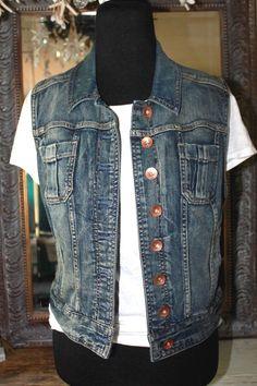 Express Blue Denim Jean Jacket Vest Women Large #Express #JeanJacket