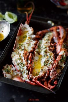 LOBSTER with BUTTER, LIME, GARLIC, PARLSEY & CHILE [kwestiasmaku] [chile, chilli, chili, pepper, chili pepper, hot pepper]